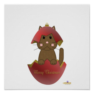 Brown Cat Red Christmas Ornament Merry Christmas Posters