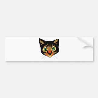 Brown Cat with Green Eyes Bumper Sticker