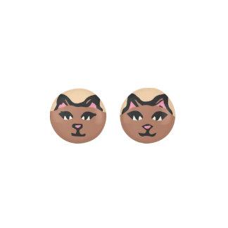 BROWN CAT With Pink Ears Earrings