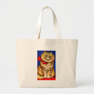 Brown Cat With Red Ribbon (Vintage Image) Bag