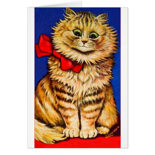 Brown Cat With Red Ribbon (Vintage Image) Card