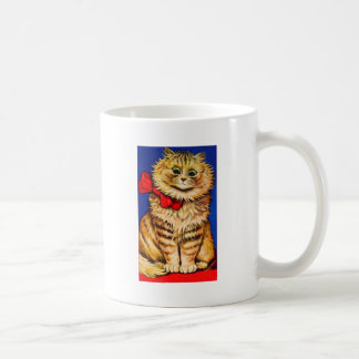 Brown Cat With Red Ribbon (Vintage Image) Classic White Coffee Mug