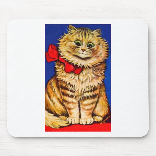Brown Cat With Red Ribbon (Vintage Image) Mouse Pad