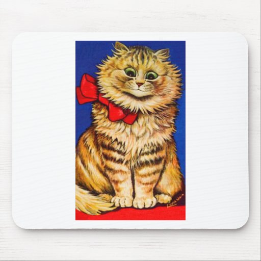 Brown Cat With Red Ribbon (Vintage Image) Mouse Pads
