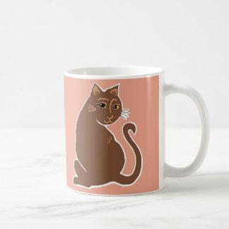 Brown Cats with Yellow Eyes Warm Peach Mug