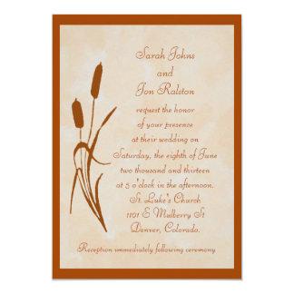 Brown Cattail Wedding Invitation