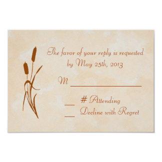 Brown Cattail Wedding RSVP Card