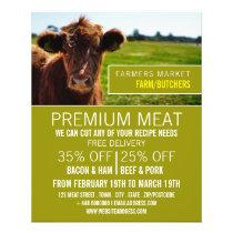 Brown Cattle, Farmer & Butcher Advertising Flyer