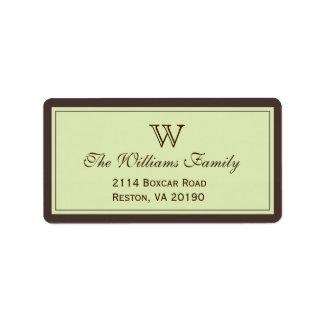 Brown & Celadon Classic Border Address Label