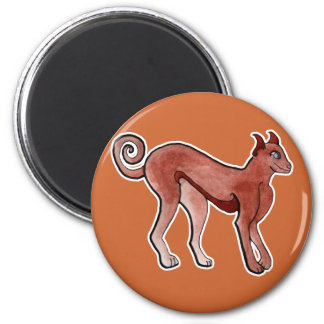 Brown Celtic Brindle Greyhound 2 Inch Round Magnet