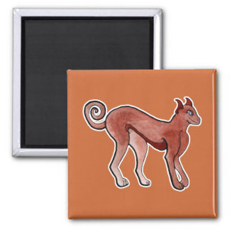 Brown Celtic Brindle Greyhound 2 Inch Square Magnet