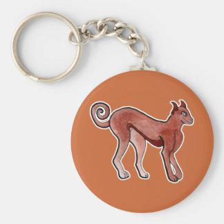 Brown Celtic Brindle Greyhound Basic Round Button Keychain