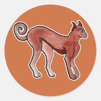 Brown Celtic Brindle Greyhound Classic Round Sticker
