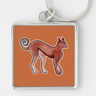 Brown Celtic Brindle Greyhound Silver-Colored Square Keychain