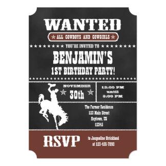 Brown Chalkboard Cowboy Birthday Invitation