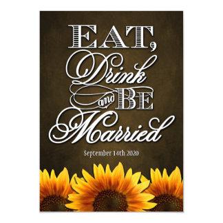 Brown Chalkboard Sunflower Wedding Invitations