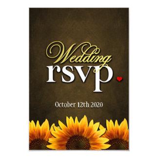 Brown Chalkboard Sunflower Wedding RSVP Cards