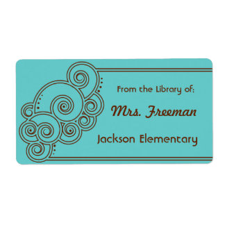 Brown Charming Swirls Bookplates Shipping Label