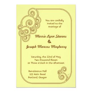 Brown Charming Swirls Wedding Invitation