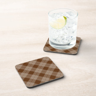 Brown Check Plaid Drink Coaster