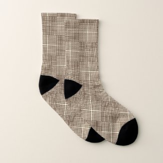Brown Check Plaid Pattern Socks