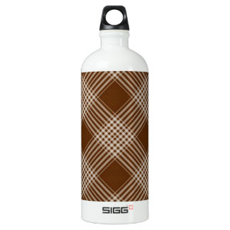 Brown Check Plaid Water Bottle