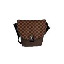 Brown Checker Board Pattern Messenger Bag