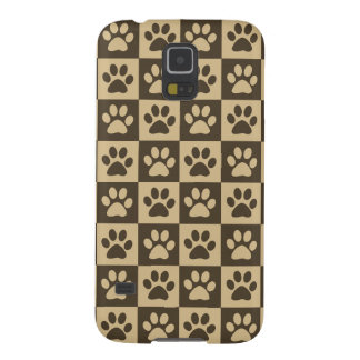 Brown Checker Paw Pattern Galaxy S5 Cases