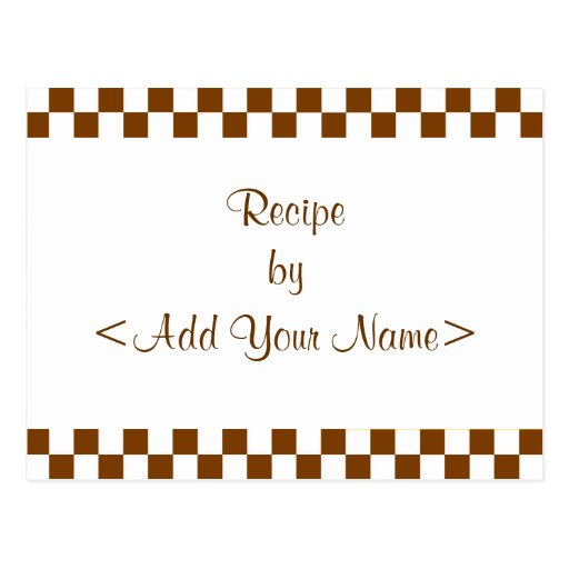 Brown Checkerboard Recipe Cards Post Card