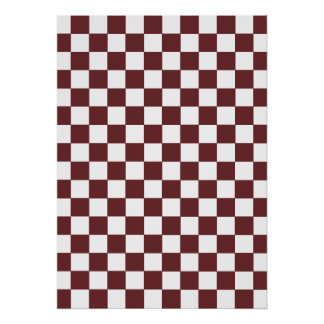 Brown Checkered Pattern Poster