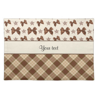 Brown Checks & Beautiful Bows Cloth Placemat