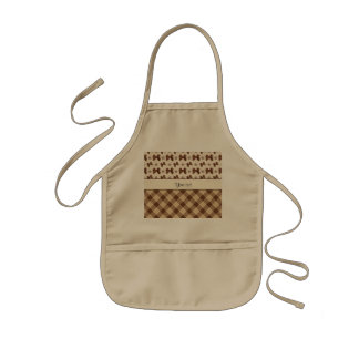 Brown Checks & Beautiful Bows Kids' Apron