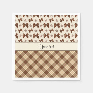 Brown Checks & Beautiful Bows Napkin