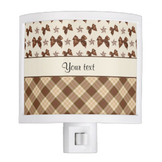 Brown Checks & Beautiful Bows Night Light