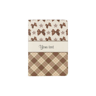 Brown Checks & Beautiful Bows Passport Holder