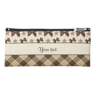 Brown Checks & Beautiful Bows Pencil Case