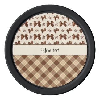 Brown Checks & Beautiful Bows Set Of Poker Chips