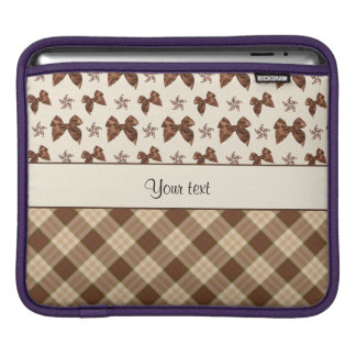 Brown Checks & Beautiful Bows Sleeve For iPads