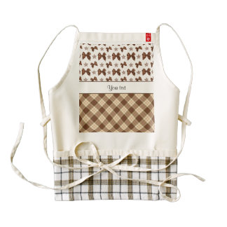 Brown Checks & Beautiful Bows Zazzle HEART Apron