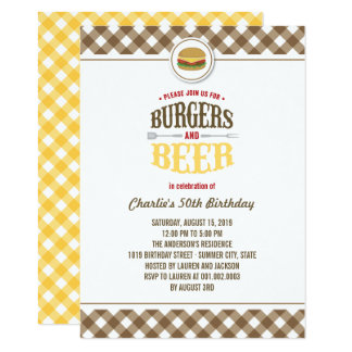 Brown Checks Burgers & Beer Summer Birthday Party Card
