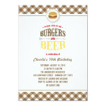 Brown Checks Burgers & Beer Summer Birthday Party 4.5x6.25 Paper Invitation Card