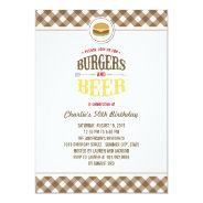 Brown Checks Burgers & Beer Summer Birthday Party 4.5x6.25 Paper Invitation Card at Zazzle