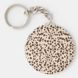 brown cheetah basic round button keychain
