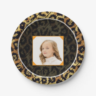 Brown Cheetah Replace Image Paper Plate