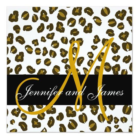 Brown Cheetah Spots Pattern Wedding Invitation