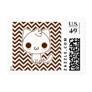 Brown Cheveron Cute Cartoon Cat with catface Postage