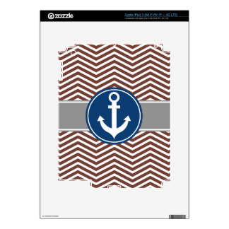 Brown Chevron Nautical Anchor iPad 3 Decals