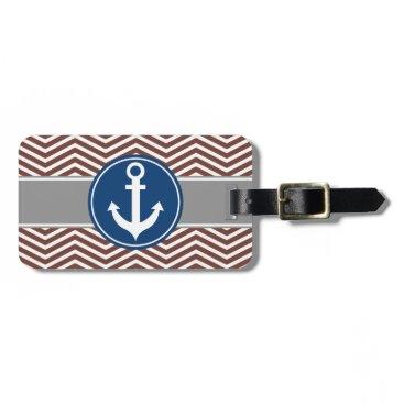 Brown Chevron Nautical Anchor Luggage Tag