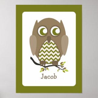 Brown Chevron Owl Personalized Nursery Artwork Poster