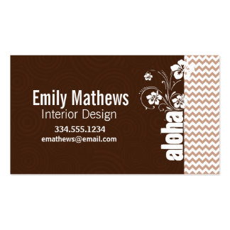 Brown Chevron Pattern; Aloha Double-Sided Standard Business Cards (Pack Of 100)